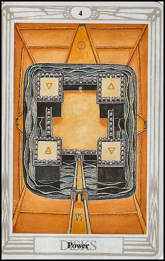Power - Four of Disks - Thoth Tarot Card