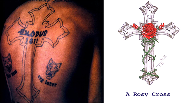 Tupac Rosy Cross Tattoo