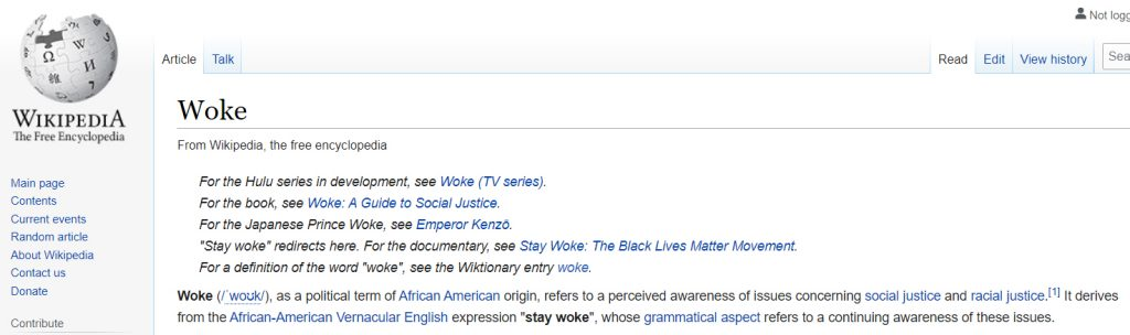 Wikipedia Definition of Woke